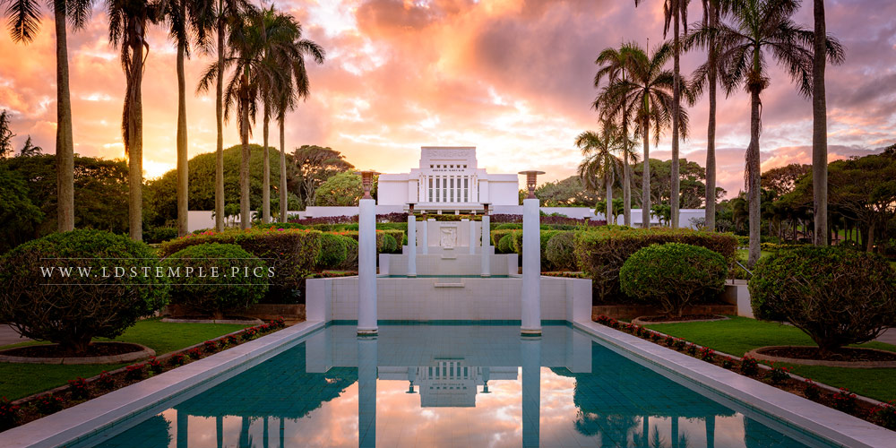 #10: Laie Temple – Reflecting Pool Sunset
