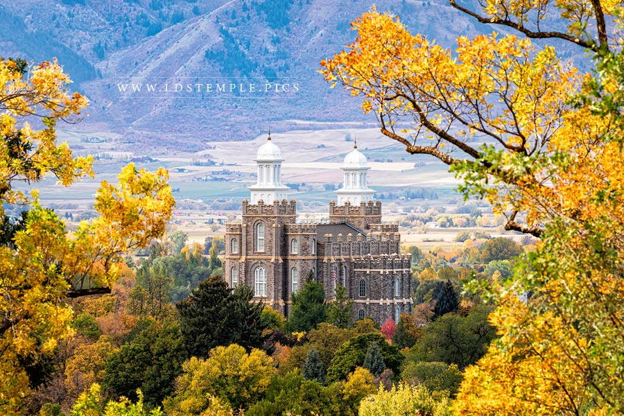Logan Temple Autumn Over The Valley Print
