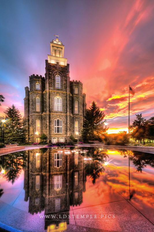 Logan Temple Crimson Sunset Print