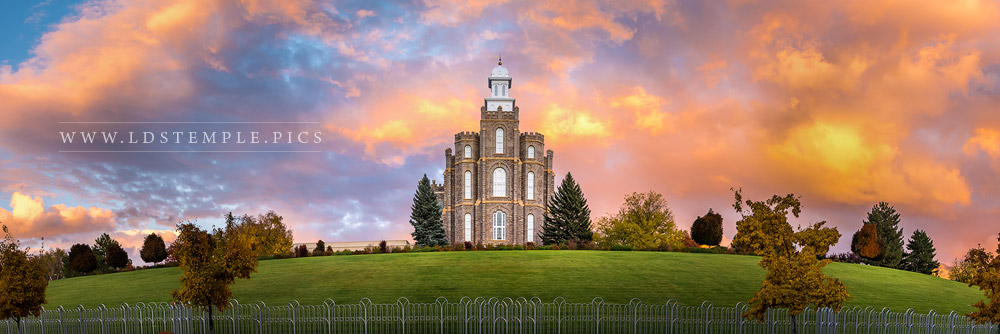 Logan Temple Fall Sunset Panoramic Print