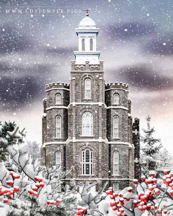 Logan Temple Painting Winter Wonderland Painting Print