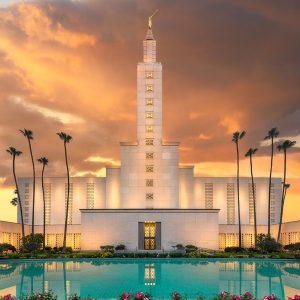 los-angeles-temple-reflecting-pool-sunset