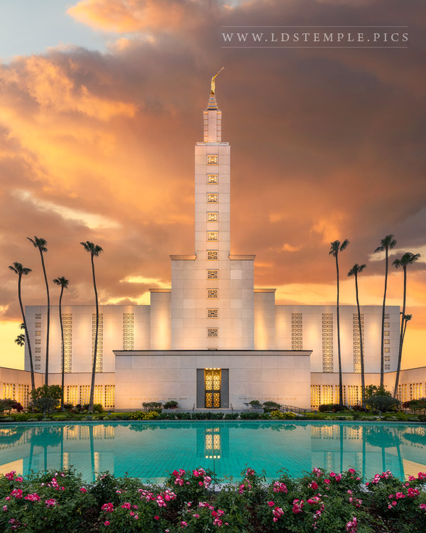 Los Angeles Temple – Reflecting Pool Sunset