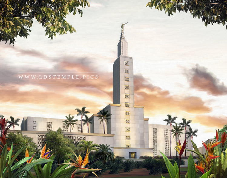 Los Angeles Temple – Summer Sunset Painting
