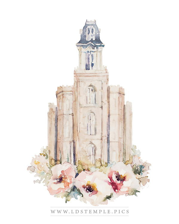 Manti Temple Floral Watercolor Painting Print