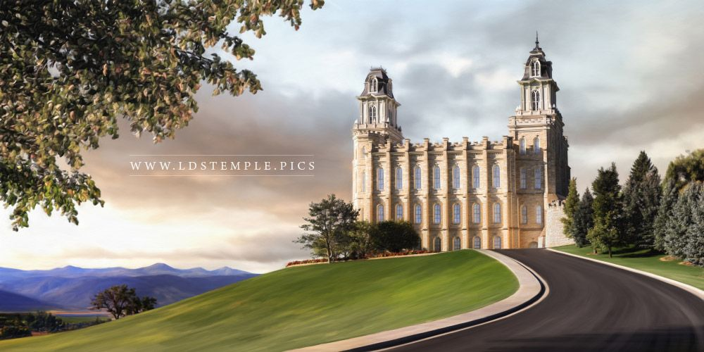 Manti Temple Summer Afternoon Panoramic Painting Print