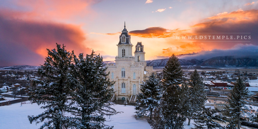 Manti Temple Snow Covered Valley Print