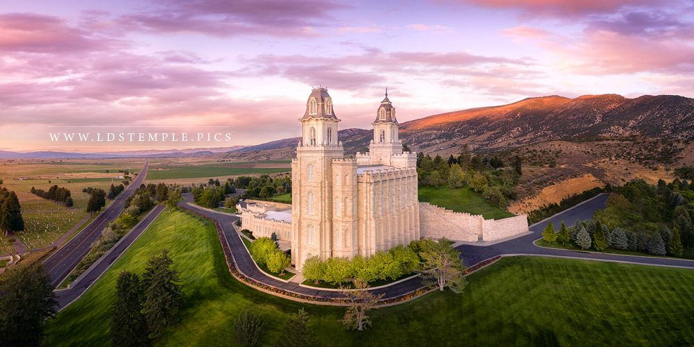 Manti Temple Sunset From On High Print