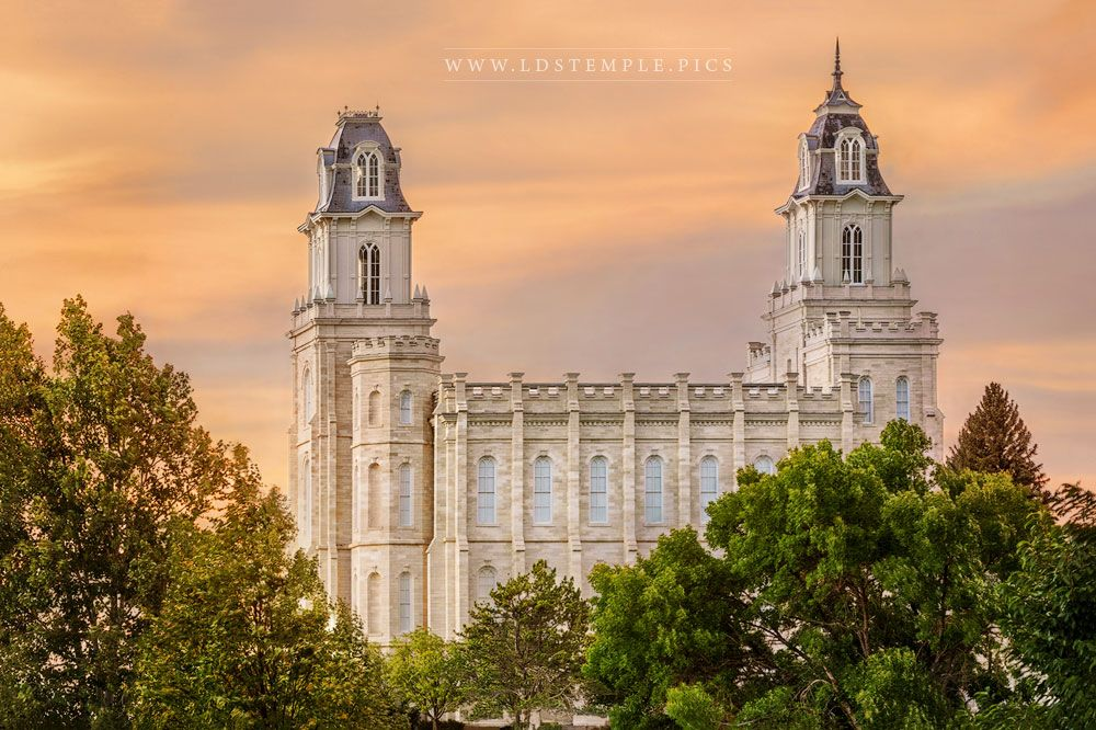 Manti Temple Trees and Sunset Print