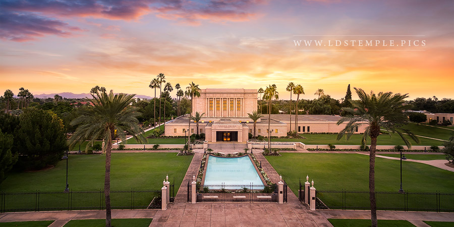 Mesa Temple Aerial Sunset From On High Print
