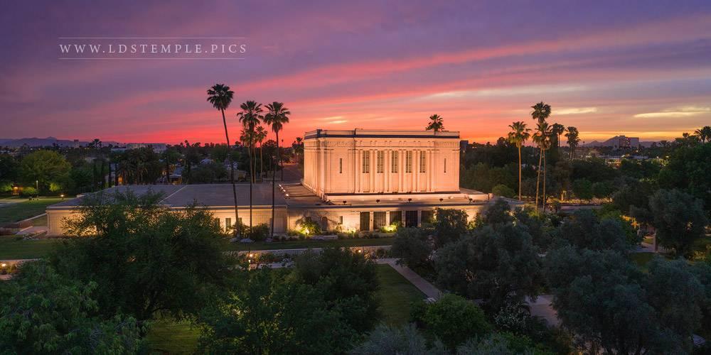 Mesa Temple Aerial Sunset West Print
