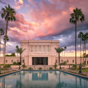 mesa-temple-reflecting-pool-summer-sunset-pano