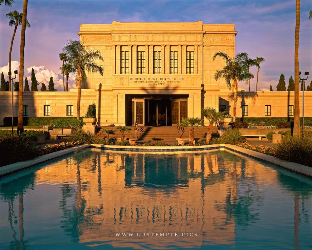 Mesa Temple Reflecting Pool Sunset Lds Temple Pictures