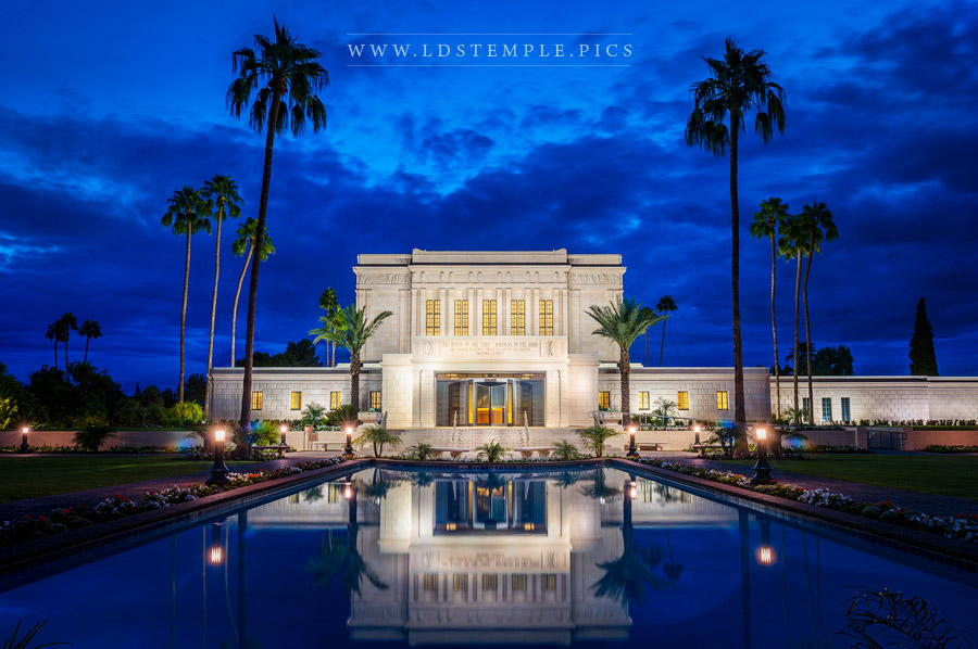 Mesa temple reflecting pool twilight lds temple pictures for Pool fill in mesa az