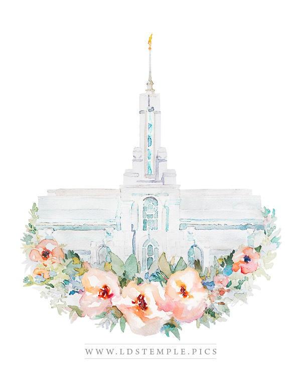Mount Timpanogos Temple Floral Watercolor Painting Print