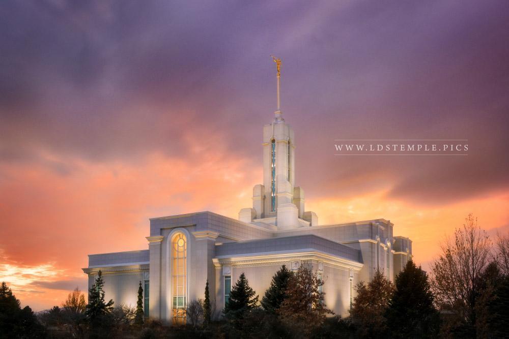Mount Timpanogos Temple Winter Sunset Print