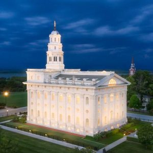 nauvoo-temple-twilight-aerial