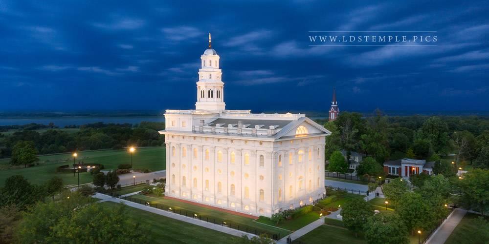Nauvoo Temple Twilight Aerial Print