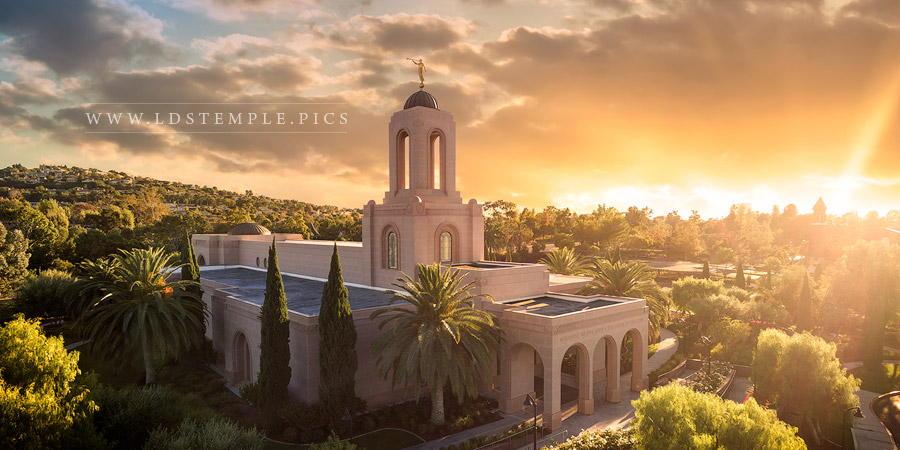 Newport Beach Temple Sunny Aerial Print