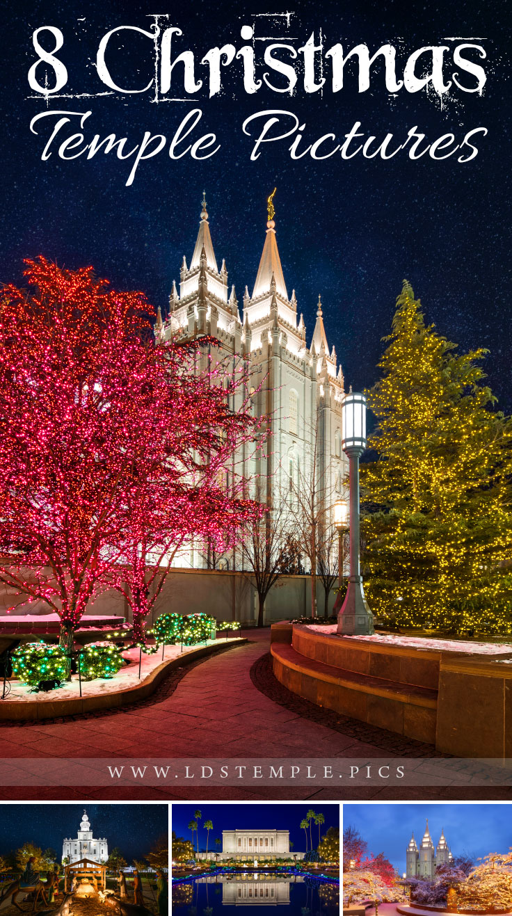 8 Christmas Temple Pictures for the Holiday Season   Every holiday season, Temple Square and other temples have some of the most amazing Christmas lights displays in the world. Here are a few pictures of them!