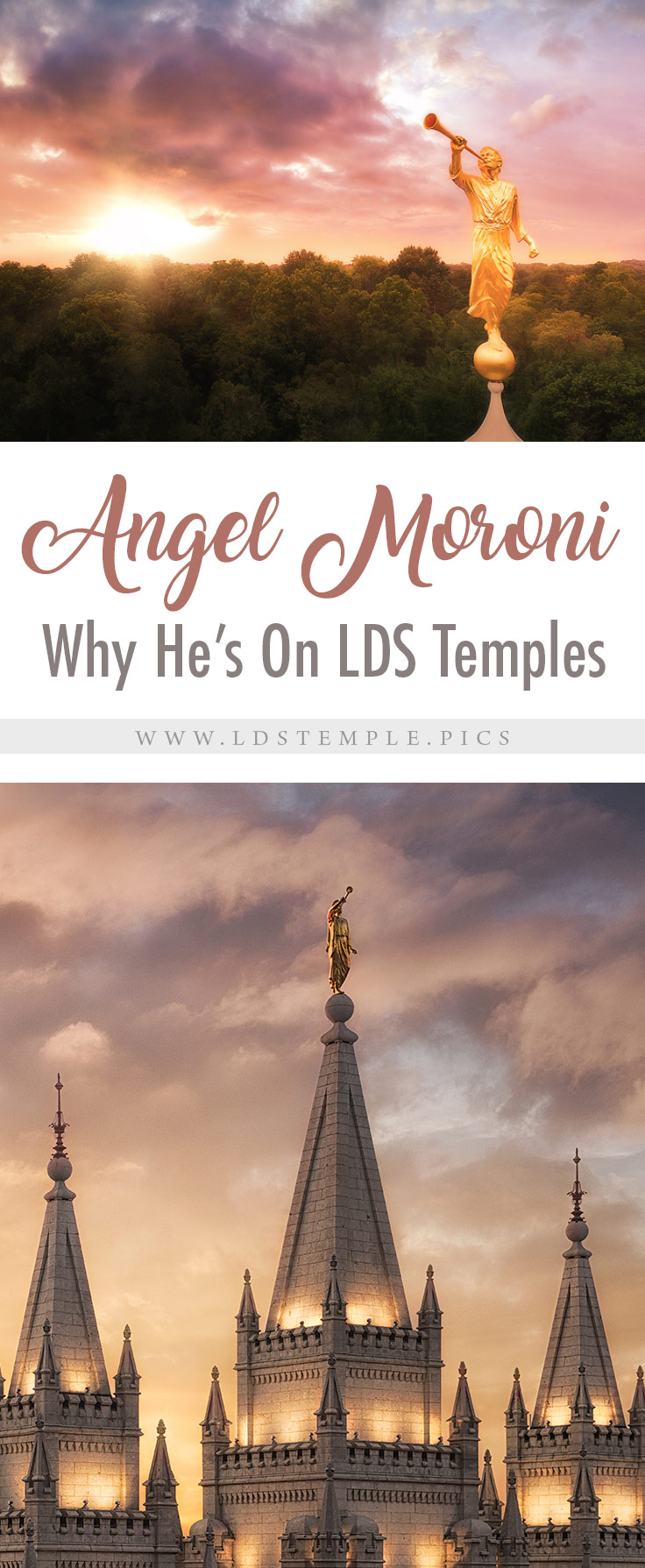 Why the Angel Moroni Tops Most LDS Temples | If you've seen a temple, you've probably seen a golden statue on top. That was the Angel Moroni. Have you wondered why he stands atop so many LDS temples?