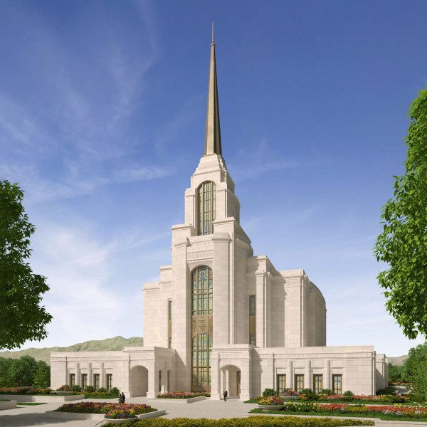A beautiful artist rendering of the exterior of the future Syracuse Utah Temple.