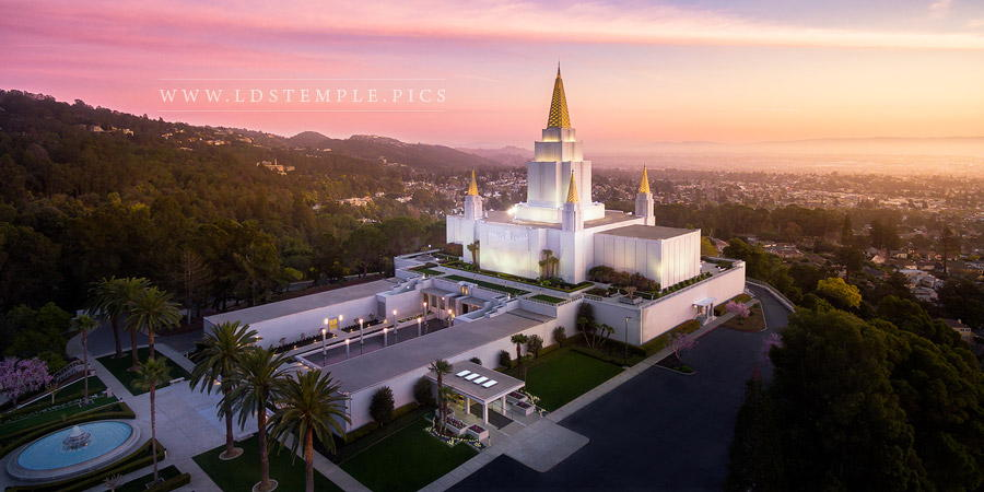 Oakland Temple – Aerial Sunset From On High