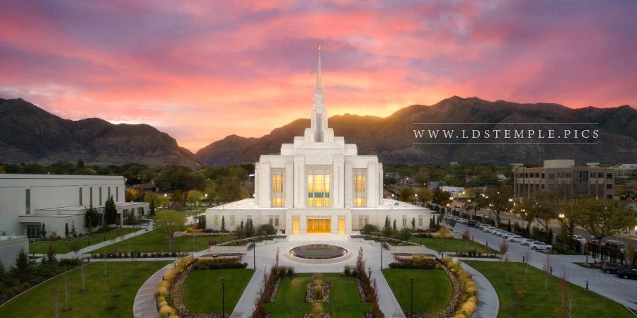 Ogden Temple Aerial Autumn Sunrise Panoramic Print