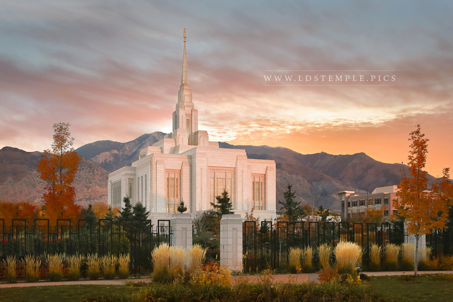 Ogden Temple Fall Sunset Print