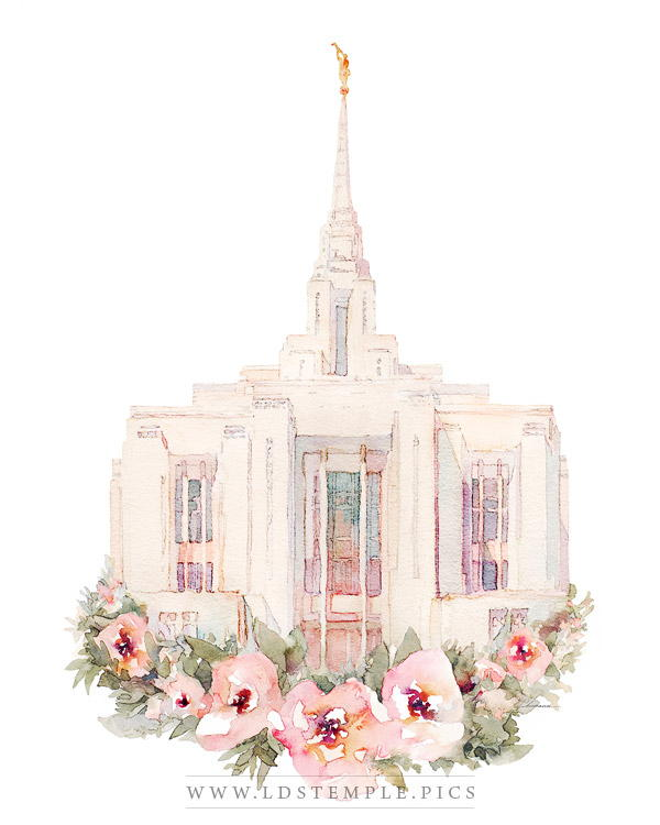 Ogden Temple Floral Watercolor Painting Print