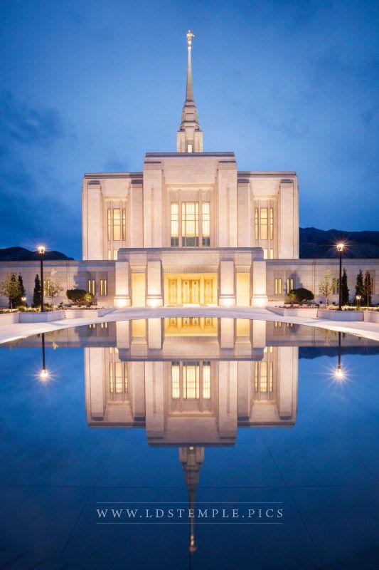 Ogden Temple Reflecting Pool Twilight Print