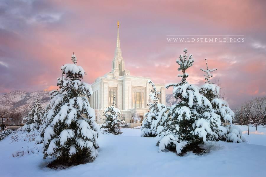 Ogden Temple Snowy Pastel Sunset Print