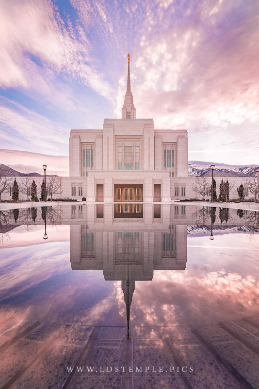 Ogden Temple Sunrise Reflection Vertical Print