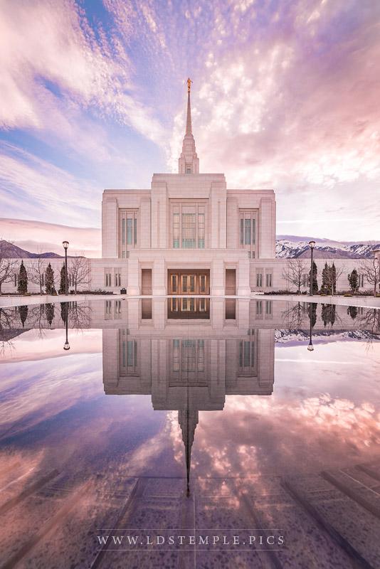 Ogden Temple Sunrise Reflection Vertical Print
