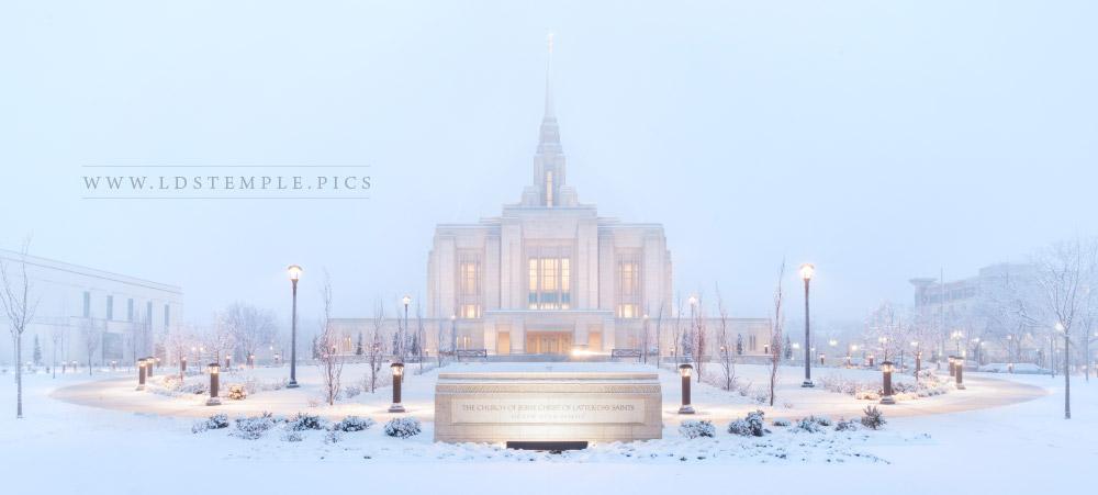 Ogden Temple Winter Morning Panoramic Print