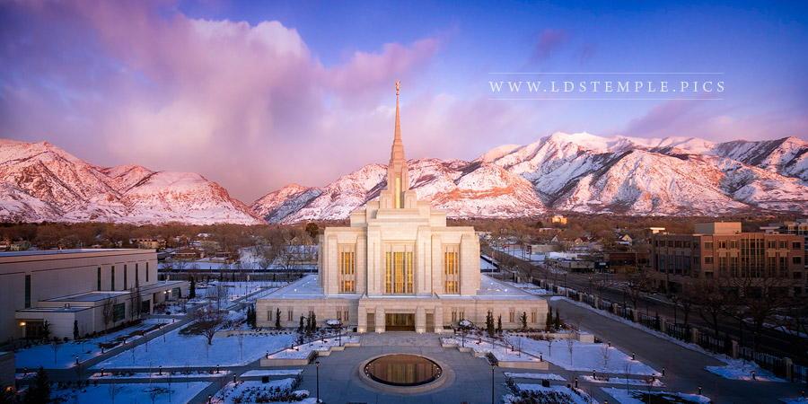 Ogden Temple Winter Sunset Aerial Print