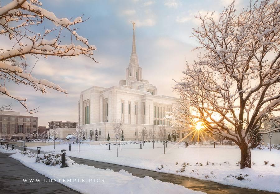 Ogden Temple Winter Sunstar Print