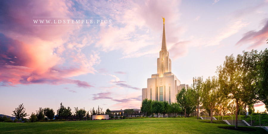 Oquirrh Mountain Temple Pastel Sunset Panoramic Print