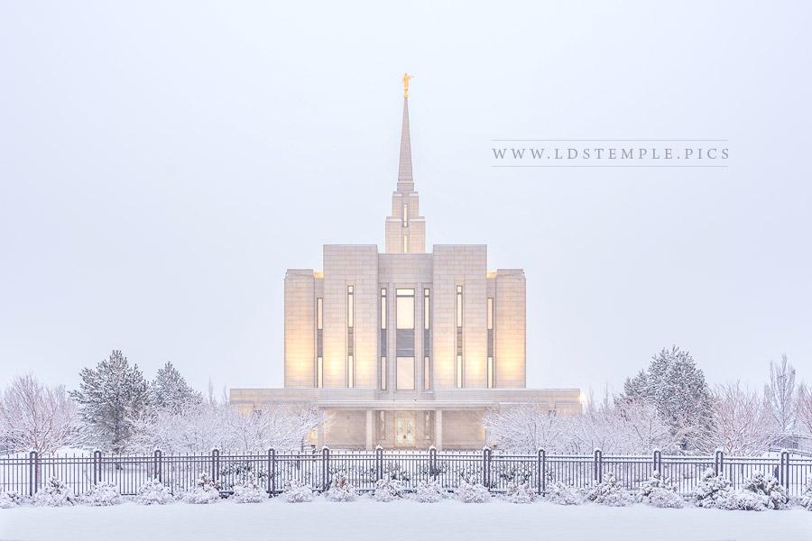 Oquirrh Mountain Temple Snowfall Print