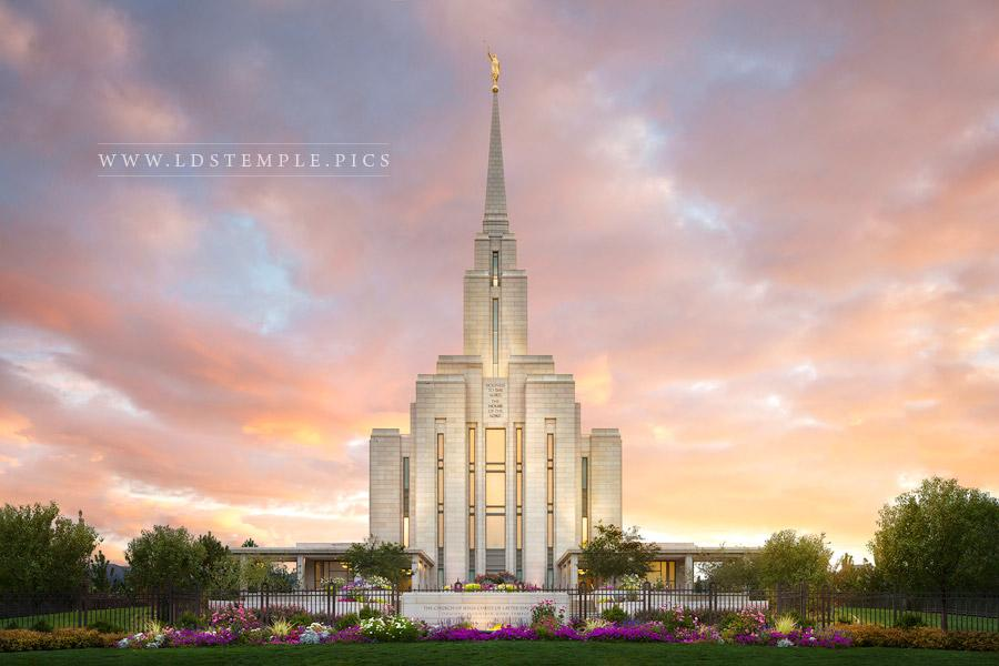 Oquirrh Mountain Temple Summer Sunset Print