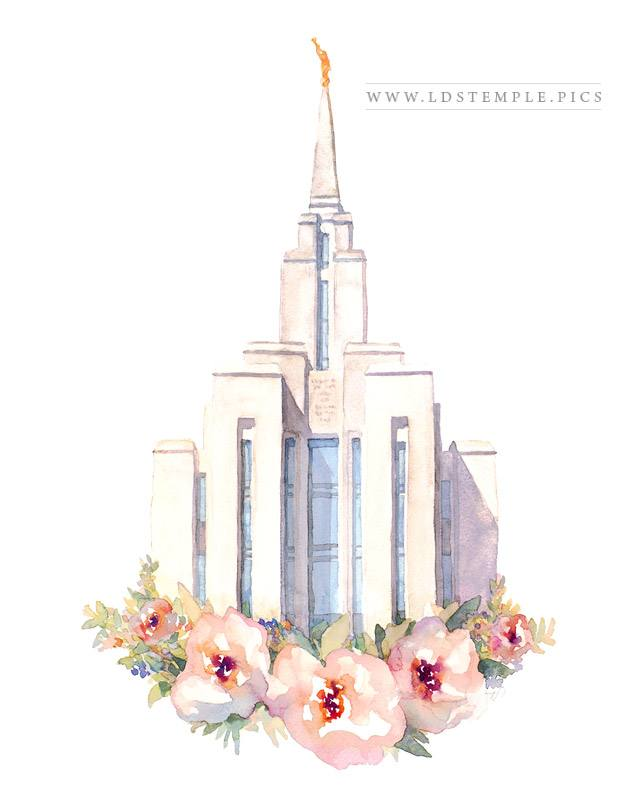 Oquirrh Mountain Temple Watercolor Painting Print
