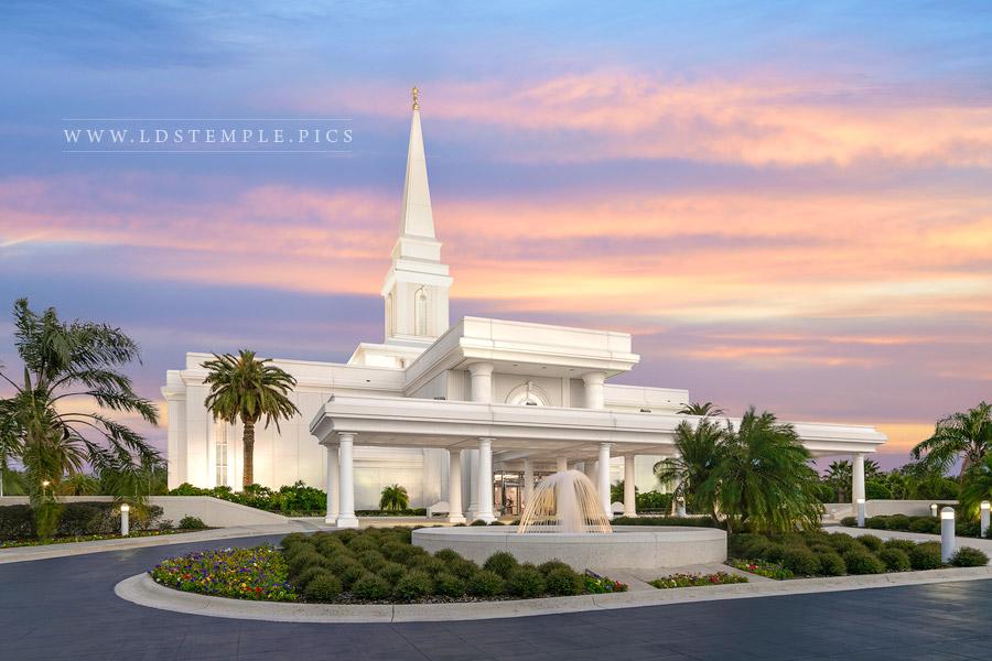 Orlando Temple Entrance Sunset Print