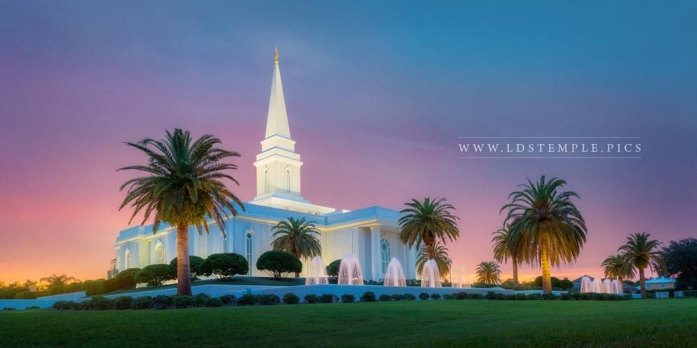 Orlando Temple Pastel Sunset Panoramic Lds Temple Pictures