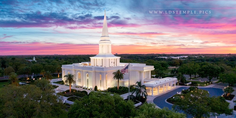 Orlando Temple Summer Sunset Aerial Print