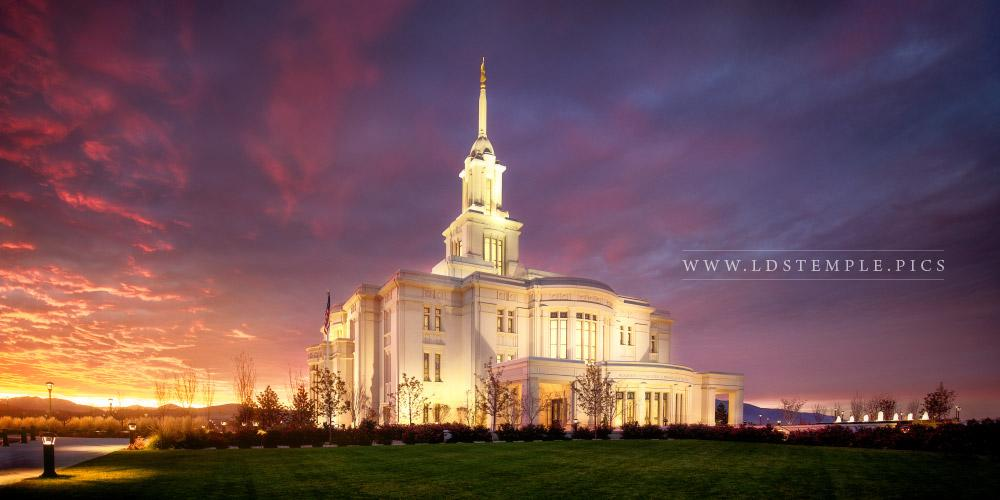 Payson Temple Autumn Sunset Panoramic Print