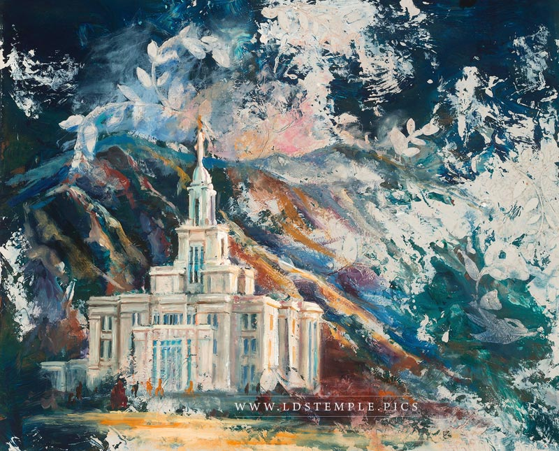 Payson Temple Cold Wax & Oil Painting Print