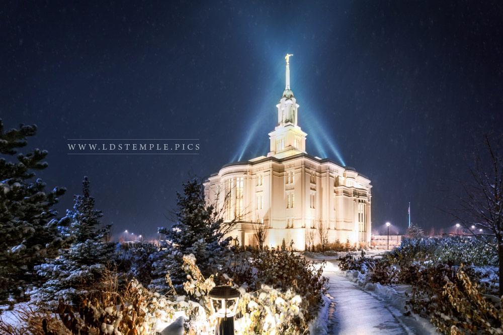 Payson Temple Evening Snowfall Print