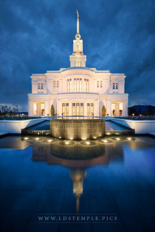Payson Temple – Reflecting Pool Twilight