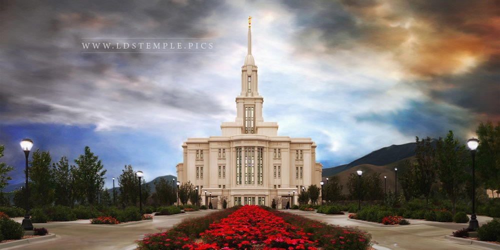 Payson Temple Roses Painting Panoramic Print