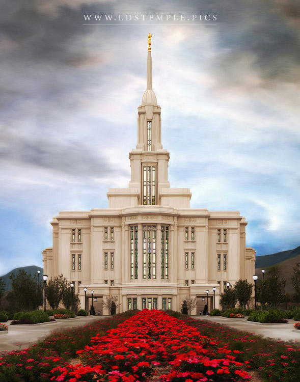 Payson Temple Roses Painting Print